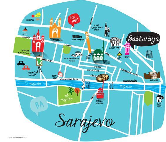 Sarajevo Map by the artist Aleksandra Nina Knezevic