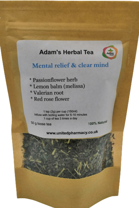 Mental Relief & Clear Mind 50 gr - Premium Herbal Loose Tea Blend - 100% Natural