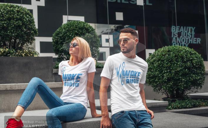 Wake Audio T-shirt (White/Blue)