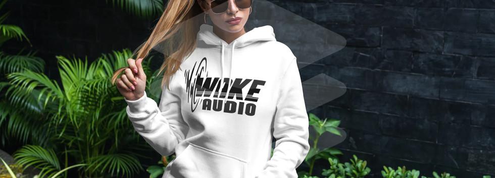 Wake Audio White Hoodie