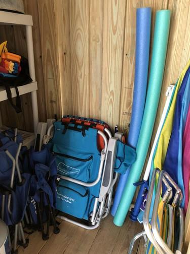 Beach gear in beach closet