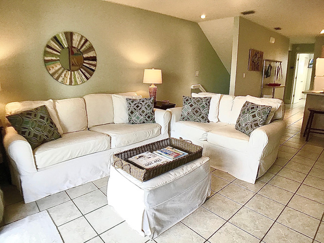 Living area has sleeper sofa & loveseat
