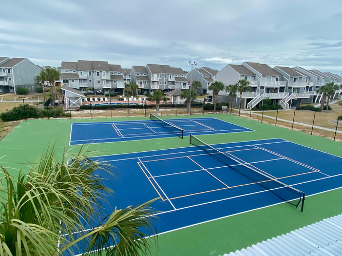 Resurfaced tennis-pickle ball courts
