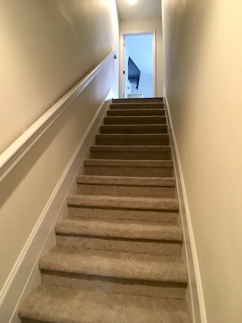Carpeted stairs going up to bedrooms