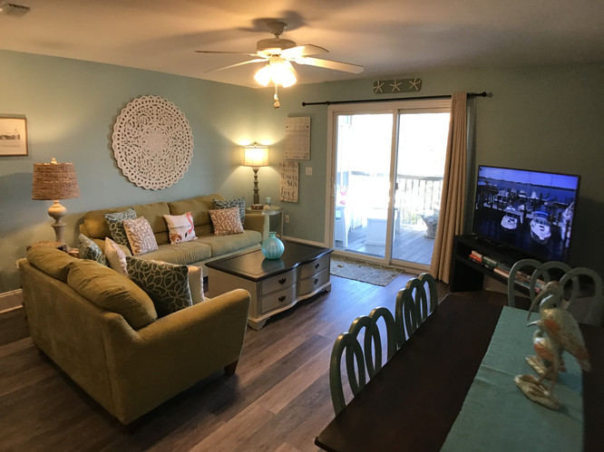Family room with large flatscreen tv
