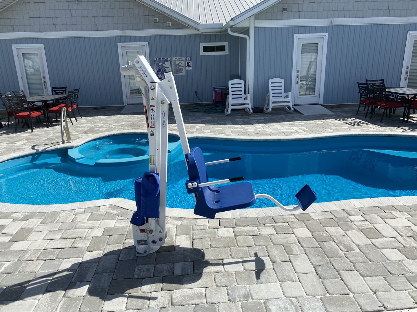 Chair lift to assist with pool access
