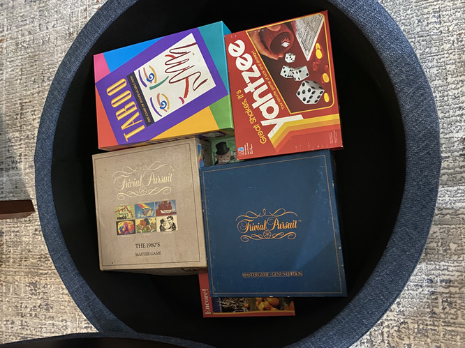 Ottoman filled with games