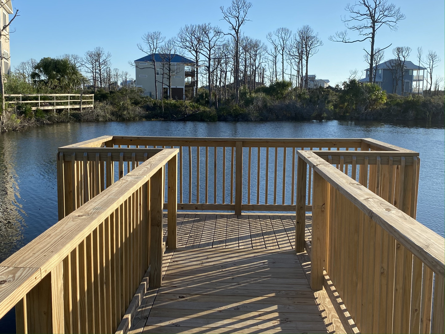 Boardwalk for fishing pond