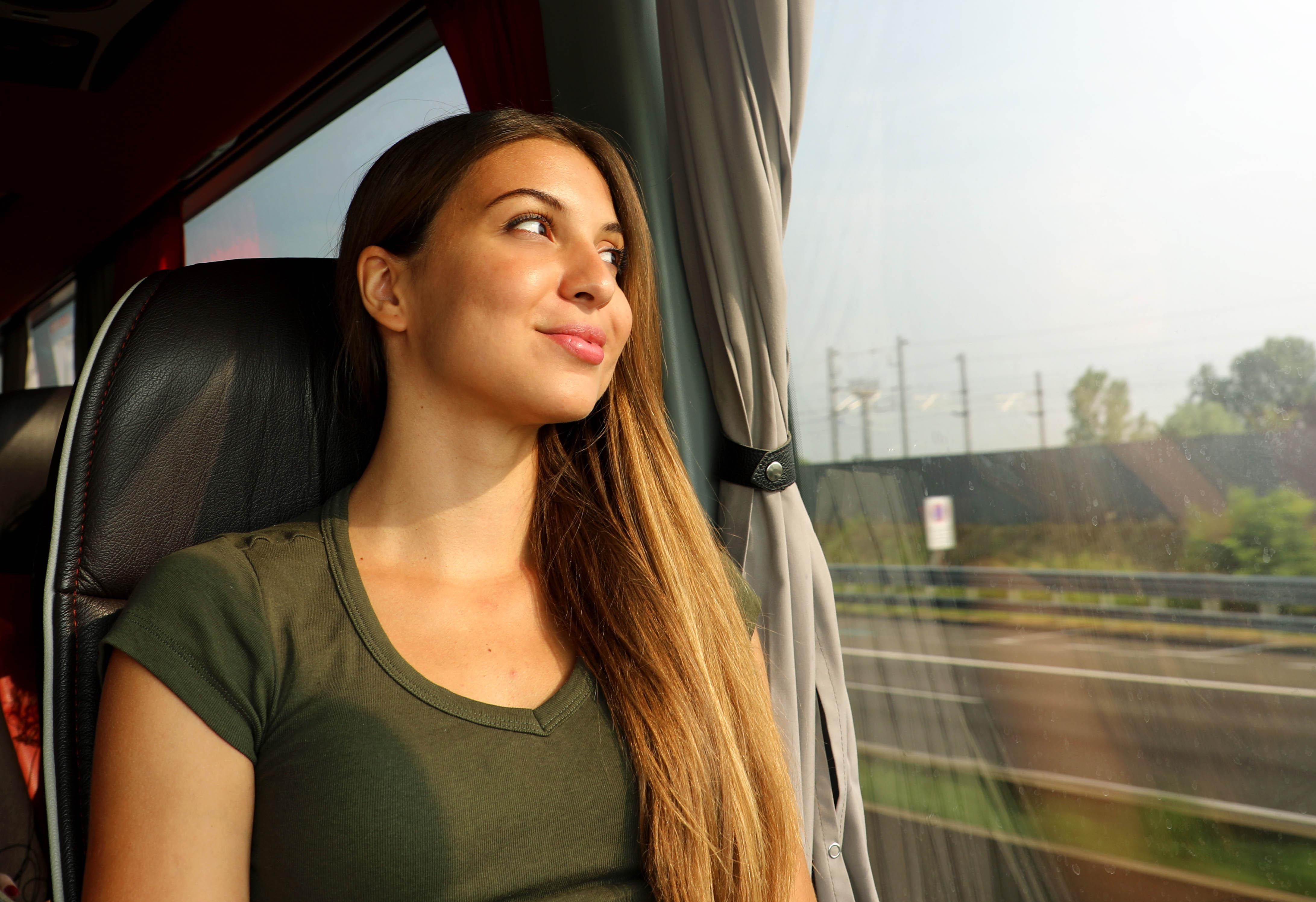 train-bus-traveler-beautiful-smiling-wom