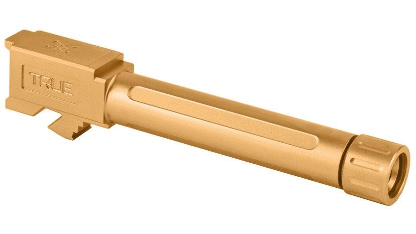 True Precision, Barrel, 9MM, Gold Titanium Nitride, Threaded, Fits Glock 19