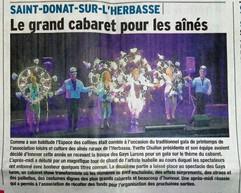 Les remerciements par la presse pour le spectacle du Cabaret le Show Biz