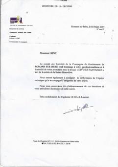 Les remerciements de la gendarmerie de Romans Sur Isere au Cabaret le Show Biz
