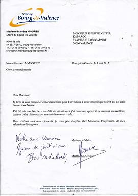 Félicitation de la Mairie de Bourg les Valence
