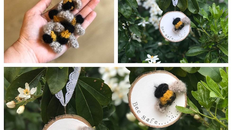 'Bee' wood slice with knitted fuzzy bee