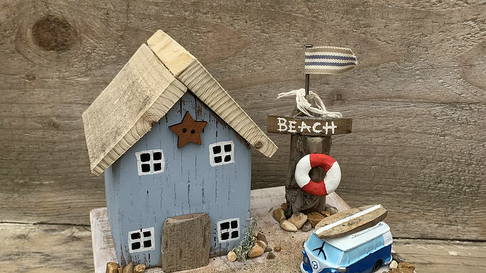 VW camper van beach house scene