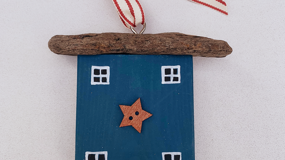 Blue star hanging house ornament