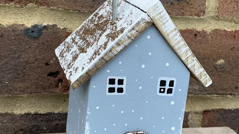 Christmas house wooden ornament