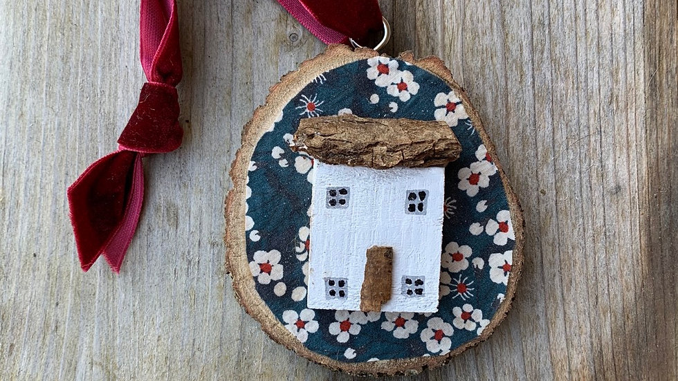 Liberty fabric wooden house ornament