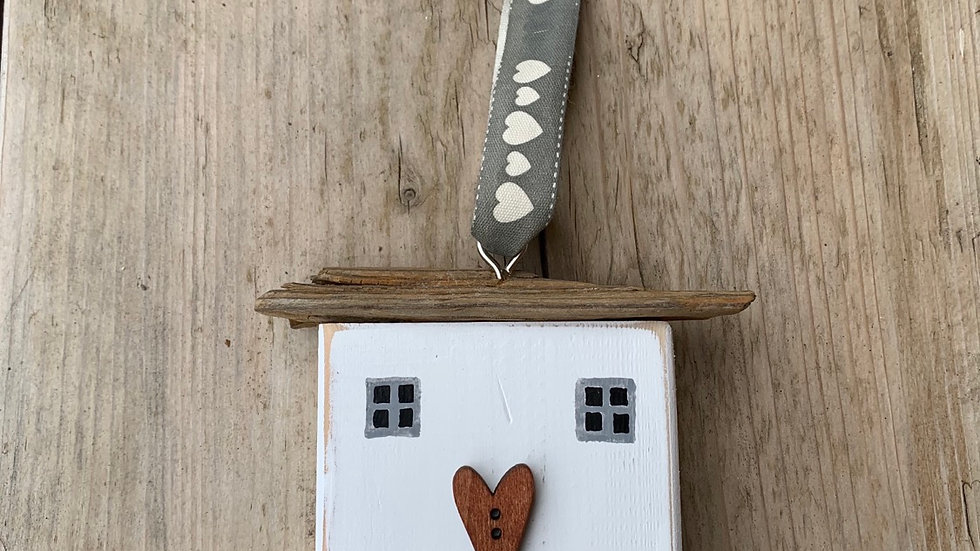 Wooden Hanging heart house