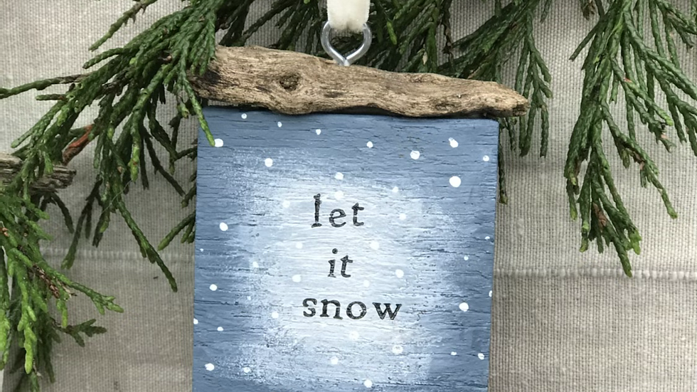 Let it snow wooden house Christmas ornament