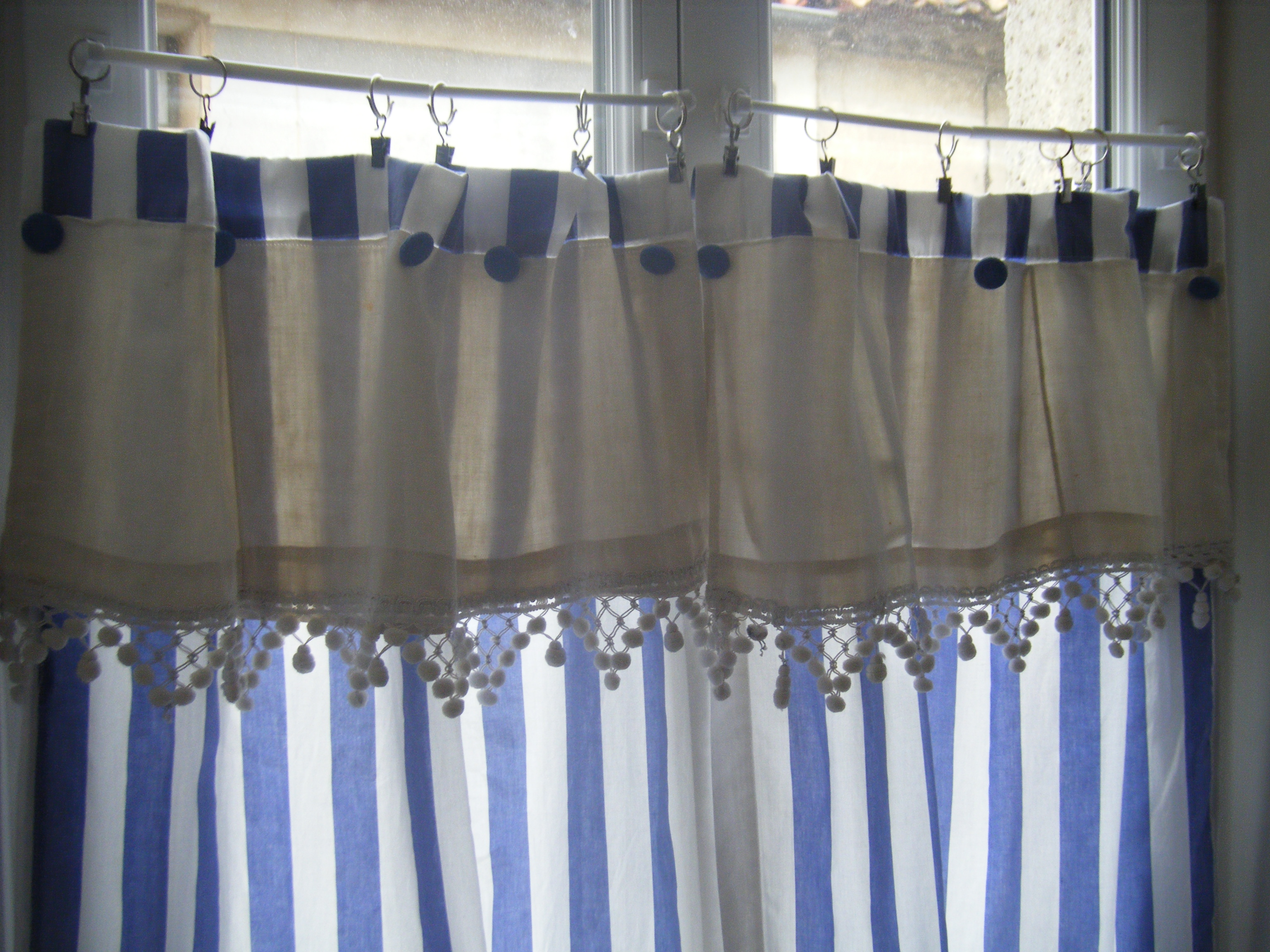 Kitchen curtains made with antique fringing