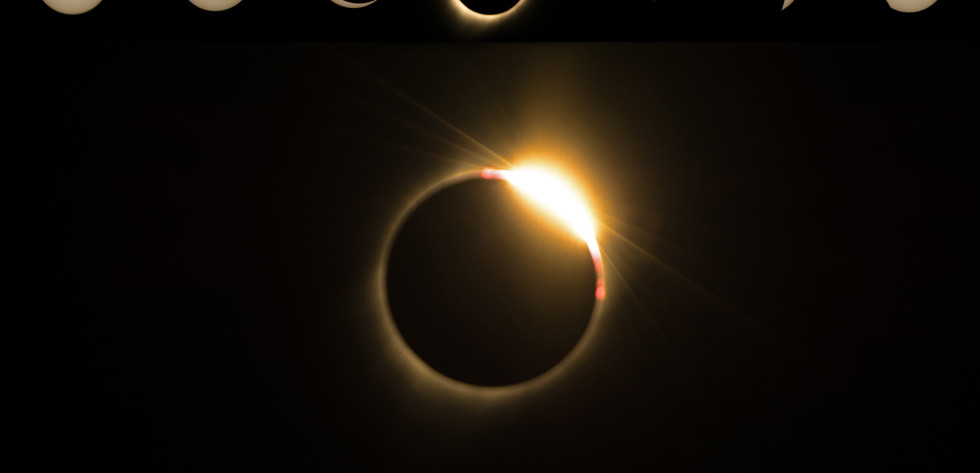 Composite image of all phases of the Solar Eclipse