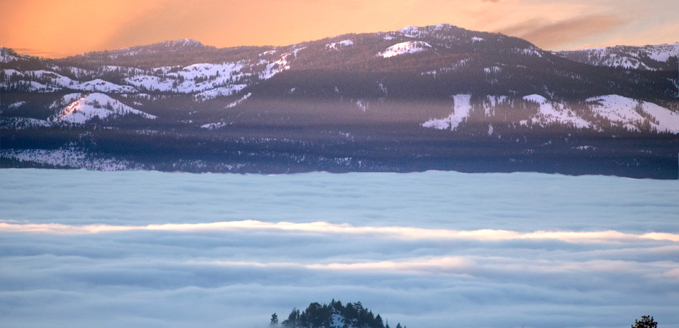 Composite photo of an inversion surrounding Round Mound