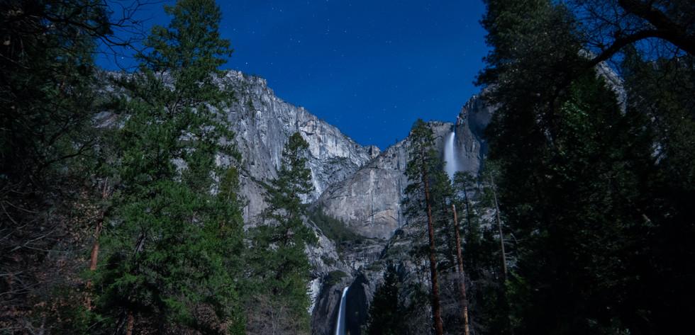 Upper and Lower Yosemite Falls at night