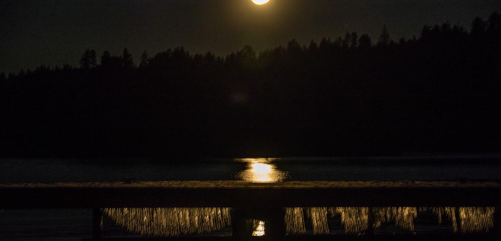 Super Moon over Emerald Bay dock