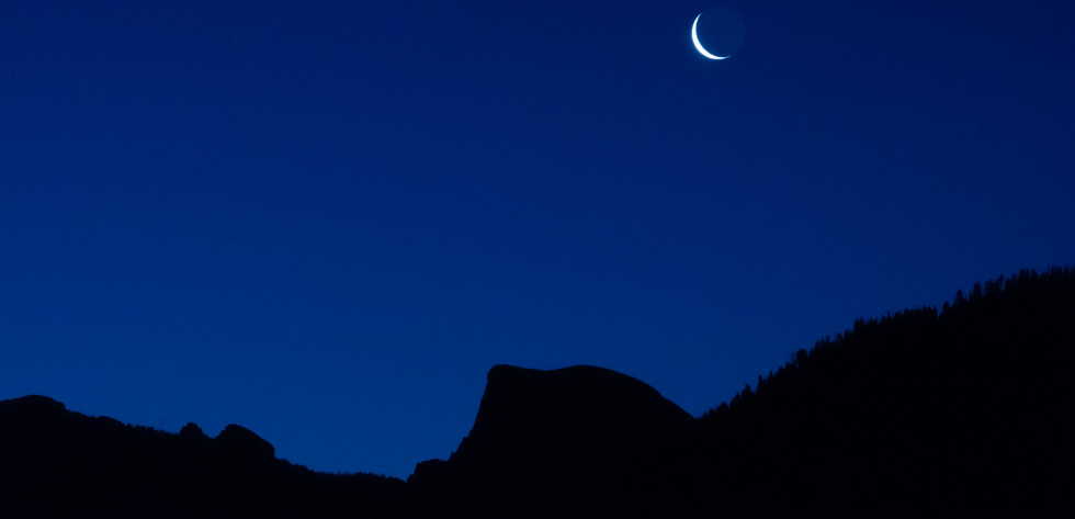 Sliver Moon over Half Dome