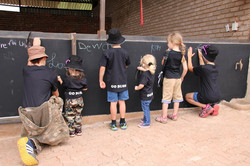 Drawing pictures for the rhinos