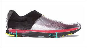 Sectioned running shoe with heel and forefoot stack height measurements