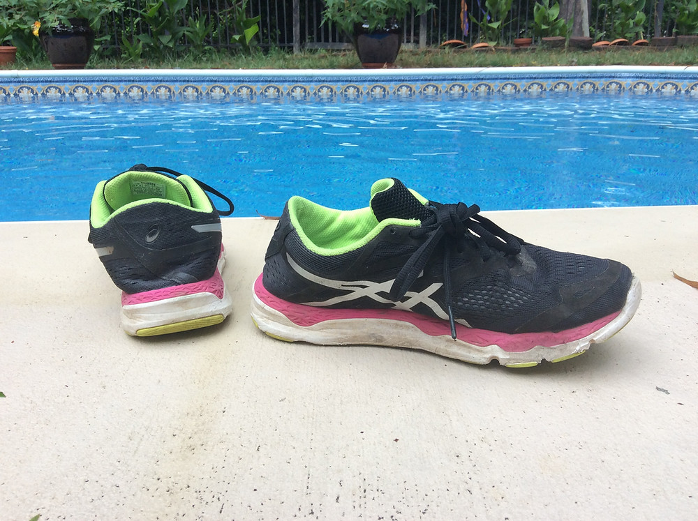Worn down running shoes