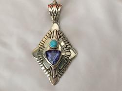 Tanzanite turquoise Navajo pendant