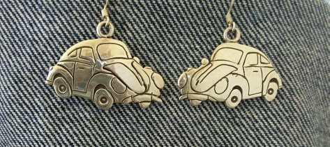 VW earrings in sterling silver