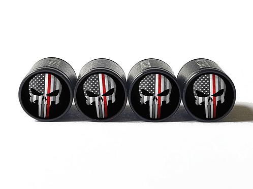 Punisher Firefighter Red Line Valve Caps - Aluminum, Black Coated