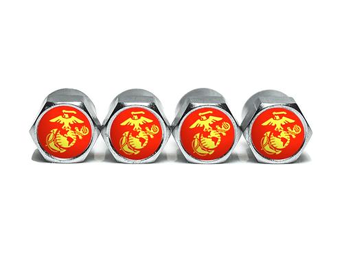US Marines Tire Valve Caps - Copper, Chrome Coated