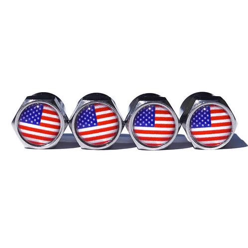 American Flag Tire Valve Caps - Copper, Chrome Coated
