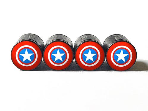 Captain America Tire Valve Caps - Aluminum, Black Coated