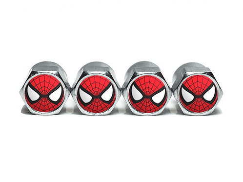 Spiderman Tire Valve Caps - Copper, Chrome Coated