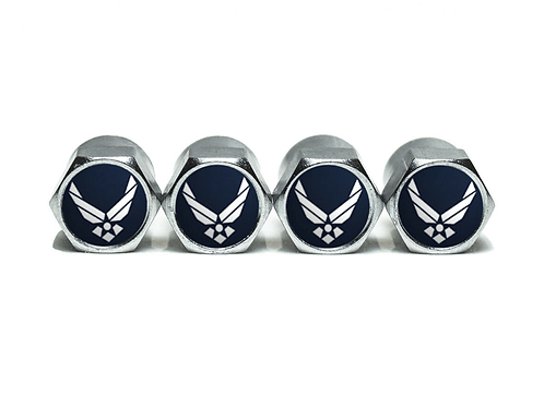 US Air Force Tire Valve Caps - Copper, Chrome Coated