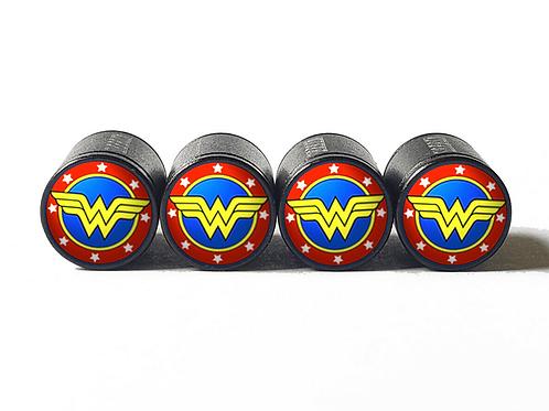 Wonder Woman Tire Valve Caps - Aluminum, Black Coated