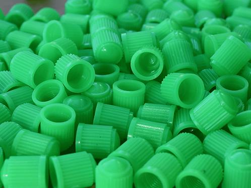 Green Plastic Tire Valve Caps - Universal