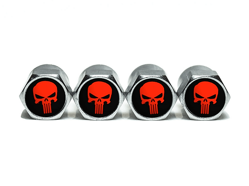 Red Punisher Tire Valve Caps - Copper, Chrome Coated