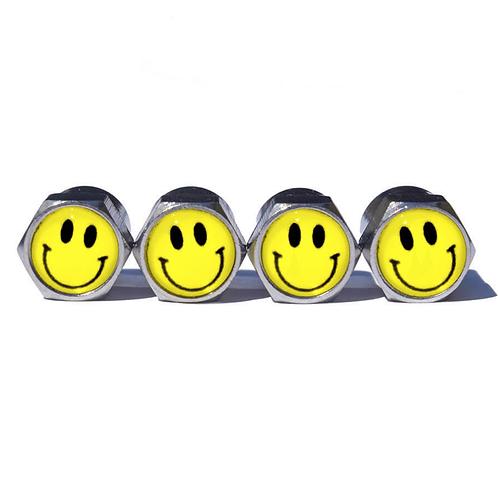 Happy Face Tire Valve Caps - Copper, Chrome Coated