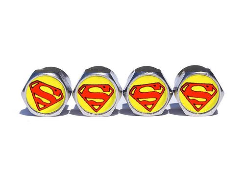 Superman Tire Valve Caps - Copper, Chrome Coated
