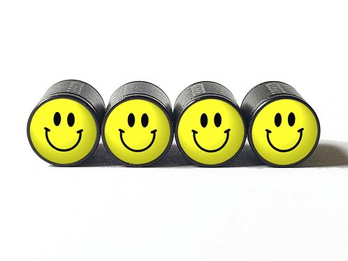 Happy Face Tire Valve Caps - Aluminum, Black Coated