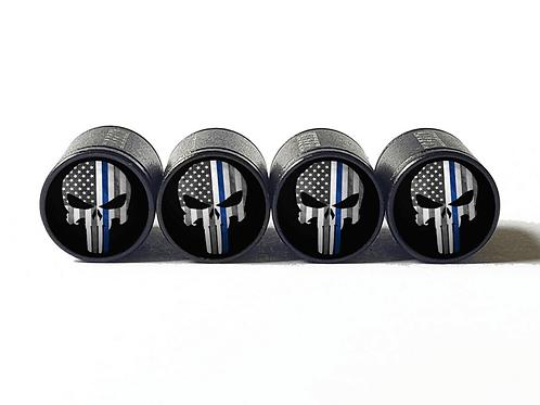 Punisher Police Blue Line Valve Caps - Aluminum, Black Coated