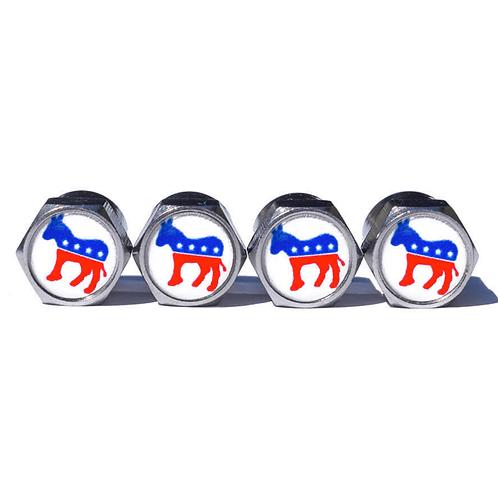 Democratic Party Tire Valve Caps - Copper, Chrome Coated