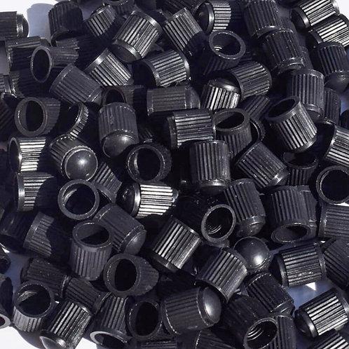 Black Plastic Tire Valve Caps - Universal